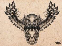 Owl - sugar skull Tattoo design for brest or chest by redtrujillo
