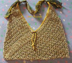 Borsa mare a rete con foulard come tracolla in cotone ingabbiato beige verde oliva e cotone giallo lavorati all'uncinetto. Crochet fishnet bag for the beach. Summer masa bag. Handmade