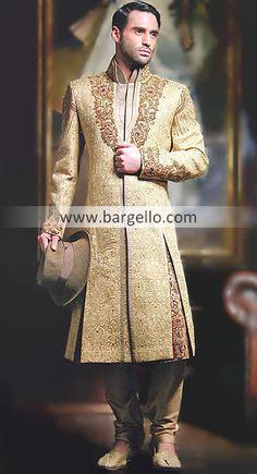 M687 Mens Sherwani Florida USA, Designer Wedding Sherwani California USA, Embroidered Black Sherwani NY Men