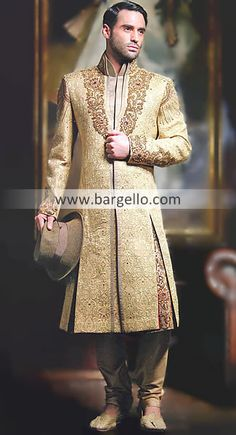 M687 Mens Sherwani Florida USA, Designer Wedding Sherwani California USA, Embroidered Black Sherwani NY Men