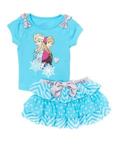 Frozen Elsa & Anna Blue Bow Top & Skirt - Toddler & Girls | zulily