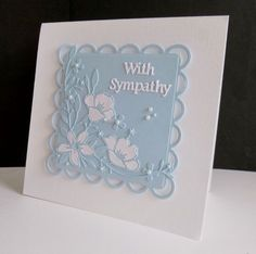 ~ Floral Sympathy by sistersandie - Cards and Paper Crafts at Splitcoaststampers Memory Box Cards, Paper Cards, 3d Cards, Folded Cards, Embossed Cards, Beautiful Handmade Cards, Square Card, Get Well Cards, Pretty Cards