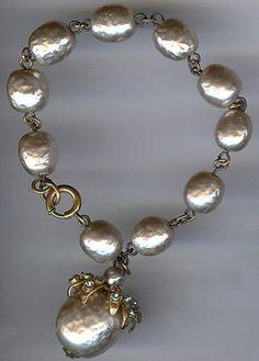 Miriam Haskell Vintage Baroque Pearl Rhinestone Dangle Bracelet | eBay