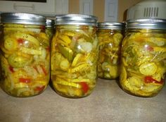 Yellow Squash Pickles. These are so scrumptious! I will be happy to open a jar of these in the wintertime!