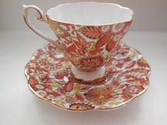 ROYAL STANDARD 1445 PAISLEY RUST CUP & SAUCER SET MADE IN ENGLAND EXCELLENT #RoyalStandard