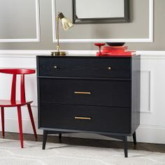 I love this black mid-century dresser with brass pulls.  Would make a perfect night stand, or large piece in an entry or hallway.