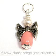 Hangertje Engeltje Vlinder Libelle Crystal Coral Pink White www.biancasengeltjessieraden.nl