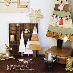Video DIY #woodpallet #christmas tree tutorial.  Easy and fast, use them as Christmas card displays, advent calendars, outdoor decor and more!