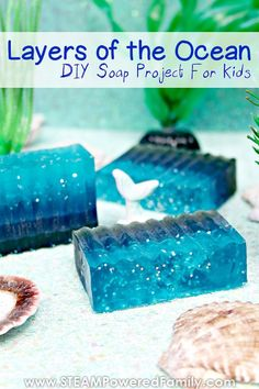 A gorgeous and easy Layers of the Ocean soap making project for kids. Learn about the 5 layers of the ocean in a sustainable and beautiful way. A fantastic project and the results make wonderful kid made gifts. Ocean Activities, Kids Learning Activities, Preschool Activities, Vocabulary Activities, Summer Activities, Ocean Projects, Projects For Kids, Crafts For Kids, Ocean Crafts For Teens