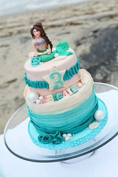 Cake at a Mermaid Party #mermaid #partycake