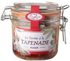 Terrine à la Tapenade d'olives noires de Nyons AOP et au Basilic cultivé sur place, en bocal de 200g produit à Oraison par la charcuterie familiale Maison Telme.