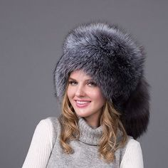 1ef25b5a37213 Real Fox Winter Hats For Women Winter Luxury Fur Genuine Fur Trapper fox fur  tail Hat Caps Russian Style Hat Bombers