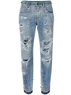 Dolce & Gabbana rhinestone ripped boyfriend jeans