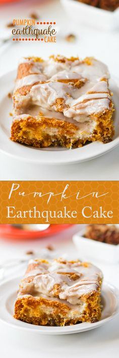Pumpkin Earthquake Cake -- a layer of pecans and coconut, pockets of cream cheese, and a cinnamon glaze. Loved this recipe so much! Mini Desserts, Fall Desserts, Just Desserts, Delicious Desserts, Dessert Recipes, Yummy Food, Dessert Dishes, Baking Desserts, Chef Recipes