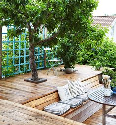 13 Coolest Modern Terrace And Outdoor Space Design Ideas – My Life Spot Backyard Patio, Backyard Landscaping, Pergola Patio, Pergola Kits, Back Gardens, Outdoor Gardens, Tree Deck, Deck Around Trees, Outdoor Rooms