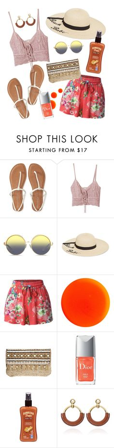 """""""Orange Summer"""" by amlhrs ❤ liked on Polyvore featuring Aéropostale, Jens Pirate Booty, Matthew Williamson, Betsey Johnson, LE3NO, Manic Panic NYC, Skemo and Hawaiian Tropic"""