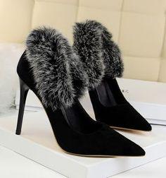 3d30dc0d690b Black White Fur Suede High Heel Pumps Women Suede Heels