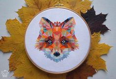 Geometric Fox Modern Cross Stitch Pattern PDF - Instant Download. Origami Fox Cross Stitch Chart. Abstract Fox Embroidery. Foxy Cross Stitch