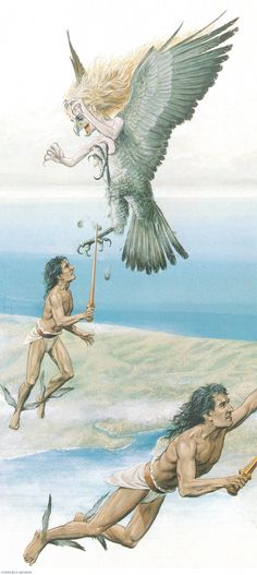 CALAIS and ZETES, twin sons of the wind god, Boreas, with swords drawn, fly off in pursuit of THE HARPIES. (Peter Connolly/Apollonius/Jason and the Argonauts/user: Aethon)