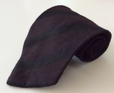 Joseph Abboud Neck Tie Black Burgundy Striped MADE IN ITALY 100% Silk #JosephAbboud #NeckTie