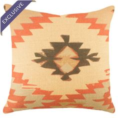 Add a pop of color to your favorite chaise or arm chair with this eye-catching burlap pillow, showcasing a Southwestern-inspired motif in red and black....