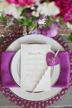 Purple Valentines Place Setting | photography by http://www.jacquelynnphoto.com/