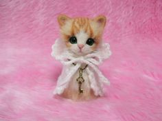 Omg cute! Needle Felted Red Tabby Cat in Cape with Hood: Japanese Kokeshi Doll Style Miniature Wool Cat.
