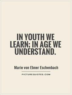 In youth we learn. In age we understand