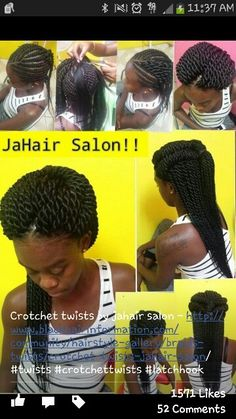 American and African Hair Braiding : Crotchet twists by jahair salon African Braids Hairstyles, Weave Hairstyles, Hairstyles 2018, Black Hairstyles, Natural Hair Tips, Natural Hair Styles, Au Natural, Going Natural, Crotchet Twists