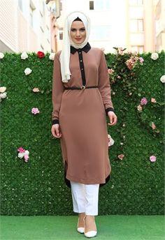 Aysima Yırtmaçlı Uzun Tunik Kahve 2001