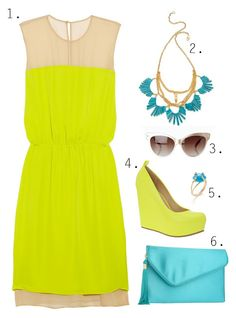 Neon yellow and turquoise accessories