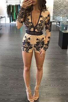 Flex your flower power. TheYasmina Romper is made in sheer powder nude chiffon and features floral embroidery, plunging neckline, elastic waistline, and ruffle
