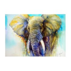 Watercolor Elephant Painting - The Gentle Giant by Arti Chauhan Watercolor Animals, Watercolor Art, Watercolor Portraits, Purple Art, Elephant Art, Animal Paintings, Elephant Paintings, Oeuvre D'art, Painting & Drawing