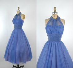1950s Halter Prom Dress / Vintage Periwinkle by DalenaVintage, $285.00