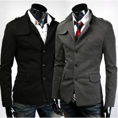 Men 's Casual Blazer with Mandarin Collar
