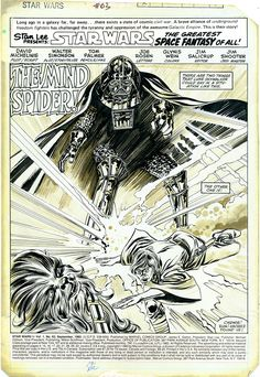 Star Wars #63, page 1. Marvel Comics, 1982. Layouts by Walt Simonson. Pencils and inks on duo-shade board by Tom Palmer.