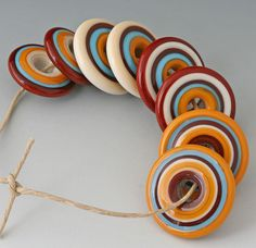 Southwest Discs  8 Handmade Lampwork Beads  Burnt by outwest, $24.00