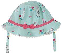 John Lewis Baby Rabbit Print Sun Hat, Teal/Multi