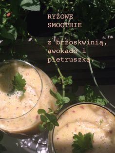 Rice smoothie. With peach, avocado and parsley. No milk.
