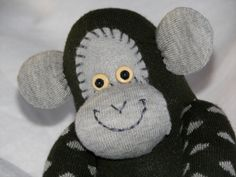 Sock Monkey Doll Plush Toy in Forest Green by AsYouWishCreations4u, $27.00