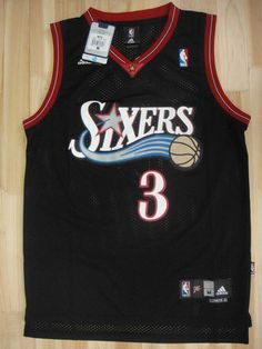 525504986 Men 3 Allen Iverson Jersey Black Philadelphia 76ers Throwback Swingman