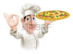 A happy Italian pizza chef doing an okay gesture and holding a tasty pizza.