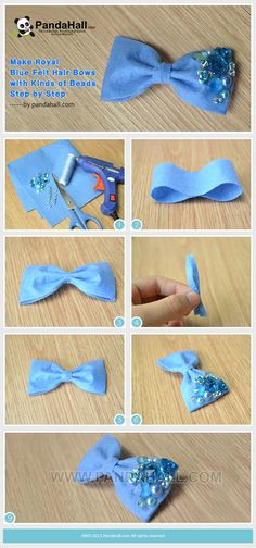 Blue Felt Hair Bow with beads