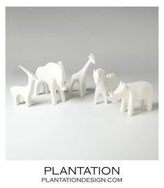 Serengeti Ceramic Animals | White