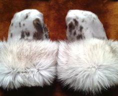 Inuit made sealskin mitts w/ fur trim by Martha Aupaluktuq-Hickes Cree Indians, North To Alaska, Inuit Art, Fur Accessories, Snow Bunnies, Leather Pattern, Native American Fashion, Winter Warmers, Sell Items
