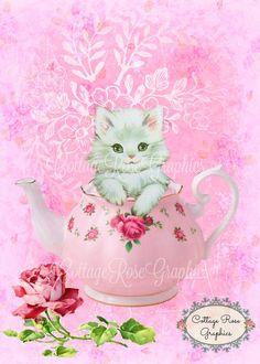 Gatitos de té rosas digtial imprimible descarga comprar 3 obtener uno gratis ecs…