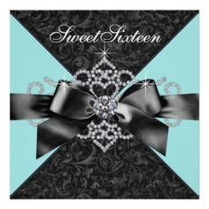 10th birthday invitations for girls   ... Blue Black Sweet 16 Birthday Party Announcement >> Wedding Invitations