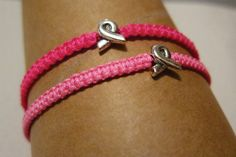 Show your support for breast cancer awareness and education with this littlej macrame bracelet in your preferred shade of pink, featuring a sterling silver ribbon bead.    Wear it alone or add it to your arm party.    Bracelet is adjustable and measures approximately 6 at its smallest and expands an addition 3 to fit over wrist. Pull the cord at each end to adjust the fit. Each bracelet is handmade with love and care (and a teeny bit of OCD).  Please contact me with any questions or…