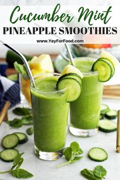 Cucumber Mint Pineapple Smoothie - Sweet, tart, and fresh flavours collide in this refreshing healthy smoothie recipe. Pineapple, cucumber, and mint (plus more) blend together to make a quick breakfast or snack with no added sugar. Healthy Breakfast Smoothies, Good Smoothies, Smoothie Drinks, Fruit Smoothies, Healthy Drinks, Healthy Nutrition, Eat Healthy, Clean Smoothie, Vegetable Smoothies