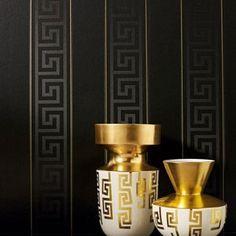 Gold Luxury Wallpaper, Black Wallpaper Bedroom, Wallpaper Off White, Versace Wallpaper, Striped Wallpaper, Wallpaper Decor, Vinyl Wallpaper, Textured Wallpaper, Designer Wallpaper